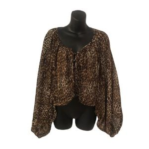 ANIMAL PRINT CROP TOP w/BUTTERFLY SLEEVES size med